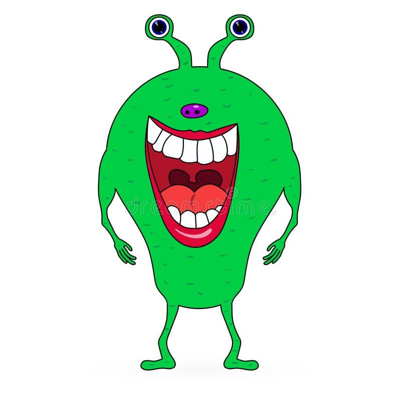 Grönt skrämma tecknad filmmonster stock illustrationer