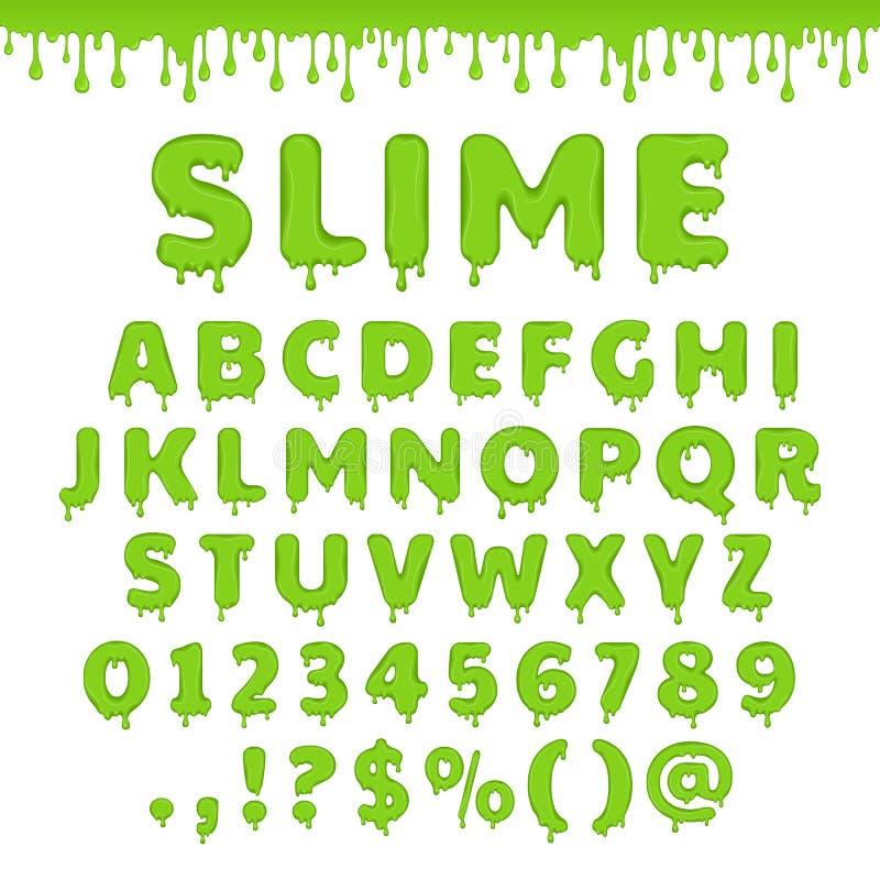 Grönt slamalfabet för vektor royaltyfri illustrationer