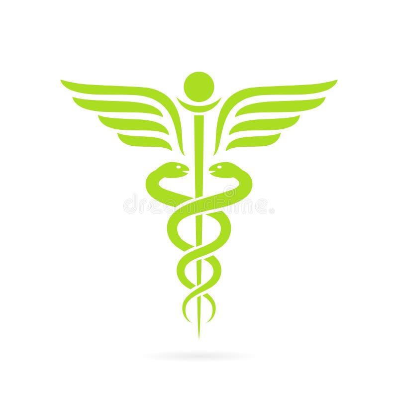 Grönt symbol för caduceusormvektor stock illustrationer