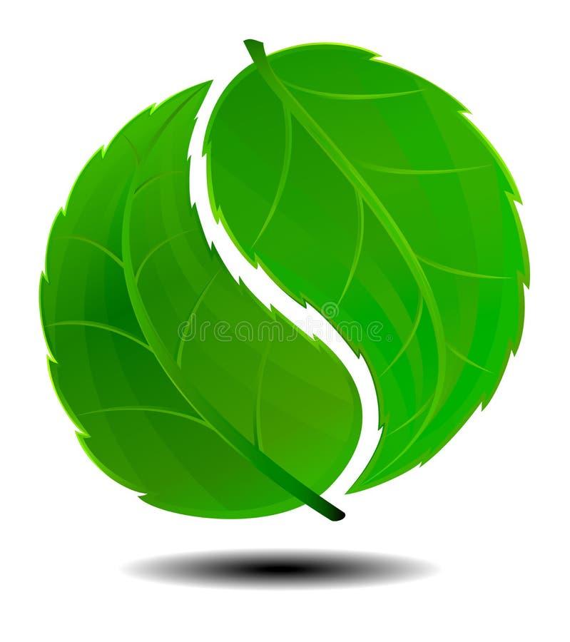Yin Yang Grön Symbollogo Royaltyfri Foto