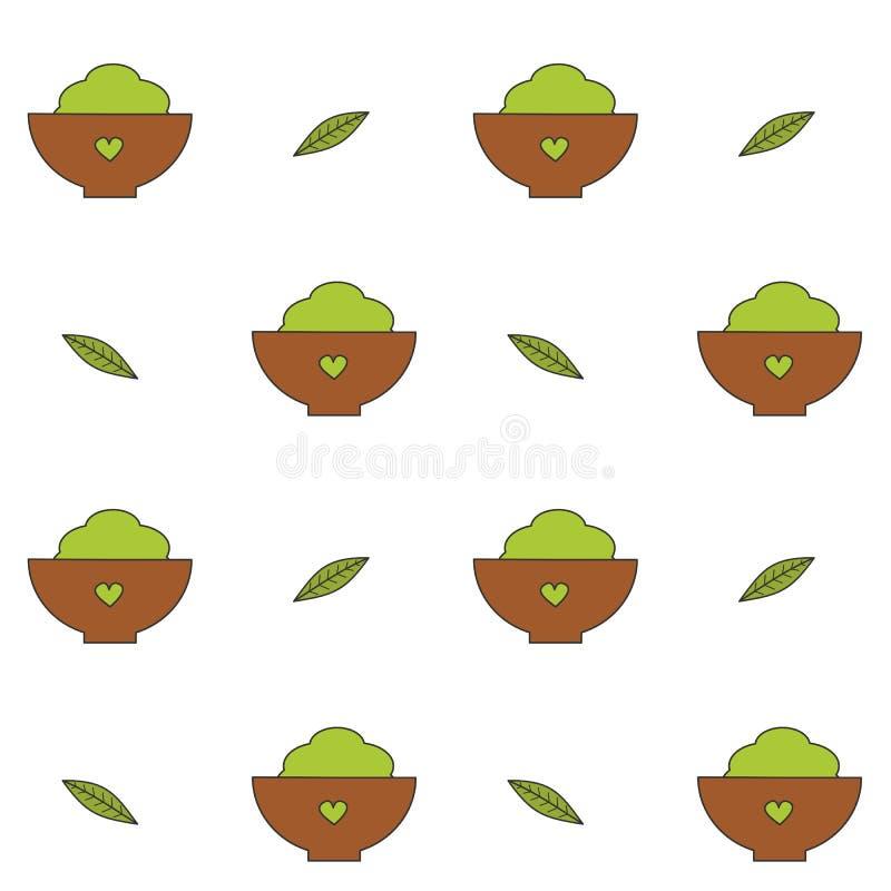 Grönt te för gulligt tecknad filmmatchapulver i bunkekopp med för vektormodell för blad den sömlösa illustrationen för bakgrund vektor illustrationer