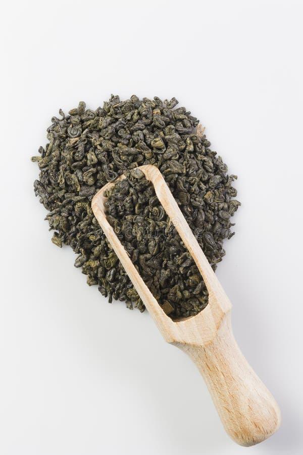 Grönt te för krut i skopa royaltyfri foto