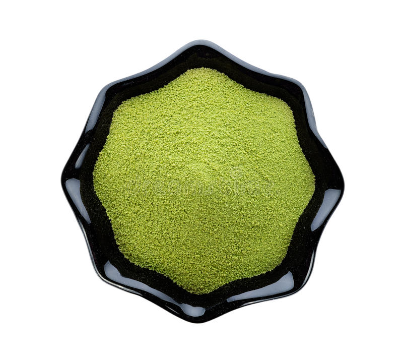 Grönt te för pulver arkivbild
