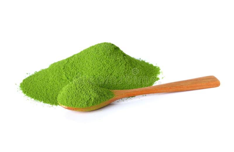Grönt te för pulver med bambuskeden arkivfoto
