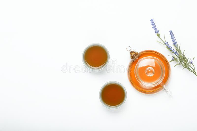 Grönt te i en genomskinlig tekanna och små koppar på en vit tabell Användbara naturliga bantar drinken Kopieringsutrymme, bästa s royaltyfri bild