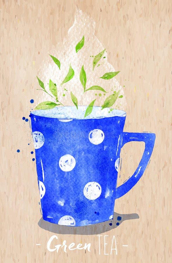Grönt te kraft för tekopp royaltyfri illustrationer