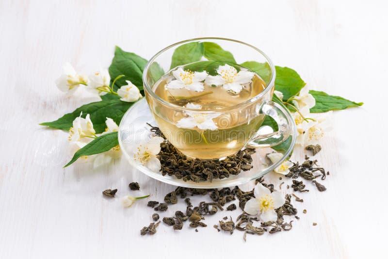 Grönt te med jasmin fotografering för bildbyråer