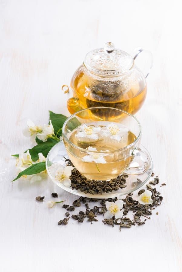 Grönt te med jasmin, bästa sikt fotografering för bildbyråer