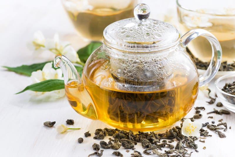 Grönt te med jasmin, closeup royaltyfri bild