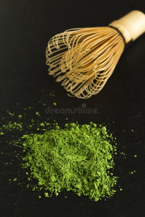 Grönt te och viftar royaltyfri fotografi
