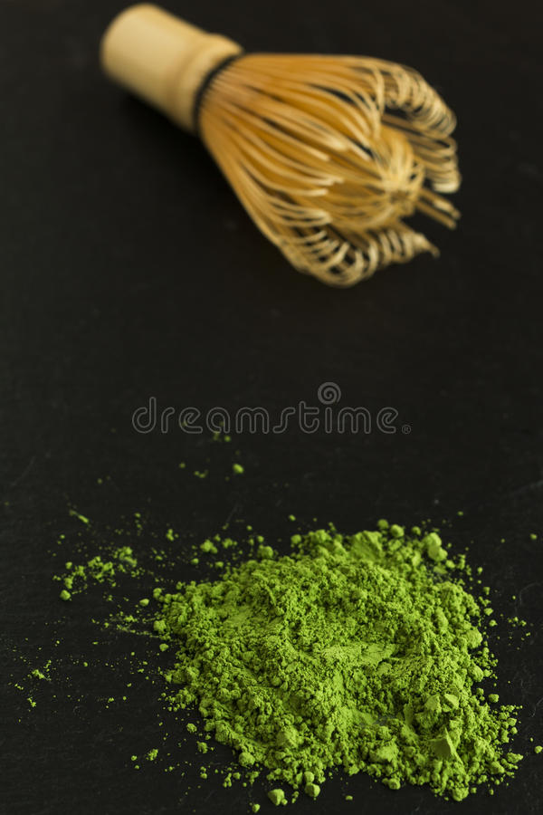 Grönt te och viftar arkivfoto
