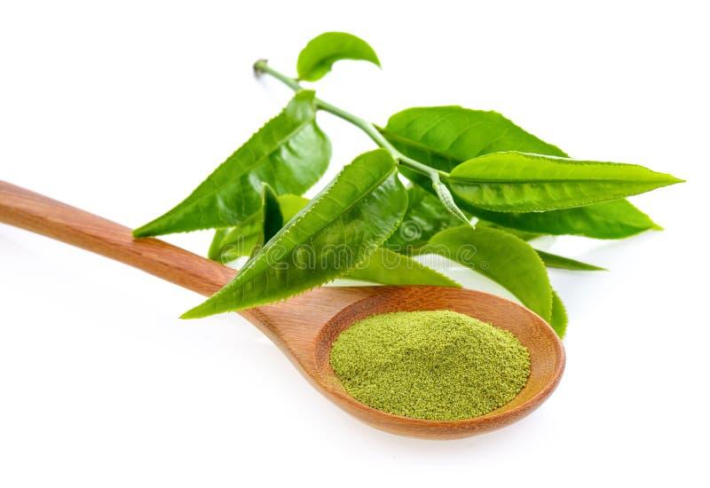 Grönt te som isoleras på vit bakgrund royaltyfri foto