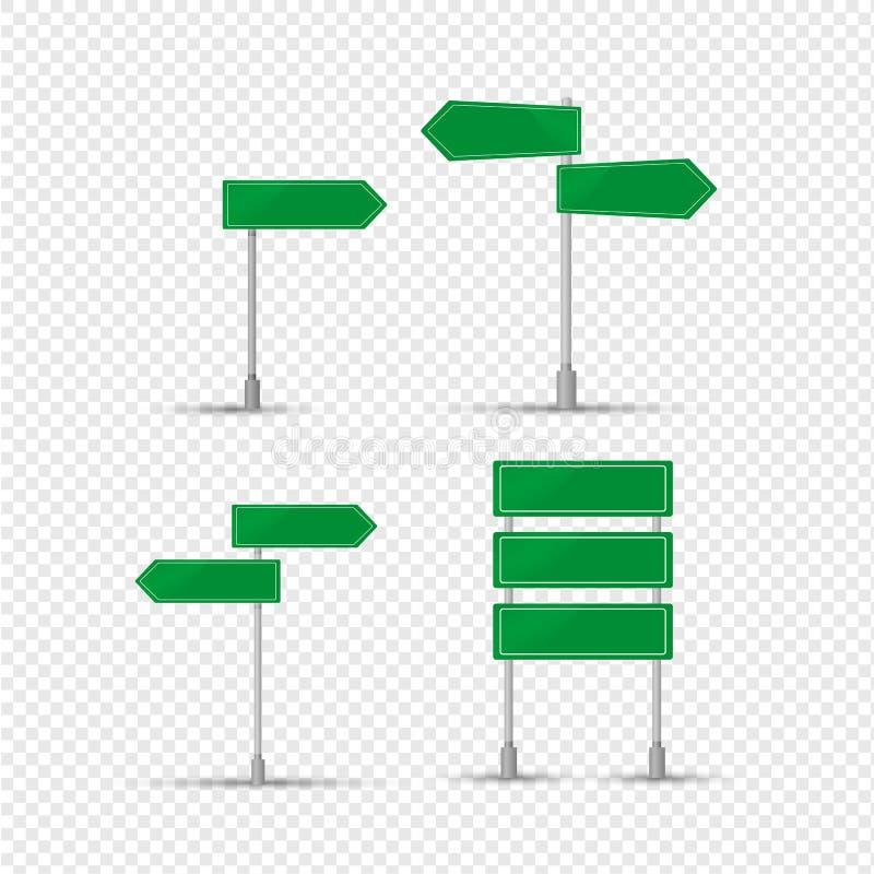 Grönt tecken av beteckningen av bosättningar, riktning av rörelse vektor illustrationer