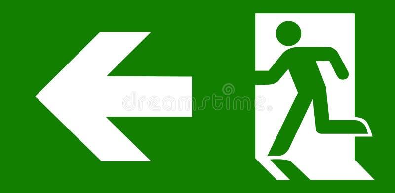 Grönt tecken för nödlägeutgång stock illustrationer
