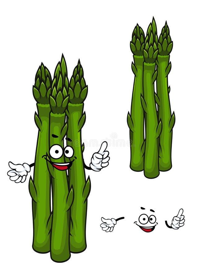 Grönt tecken för sparrisgrönsaktecknad film royaltyfri illustrationer