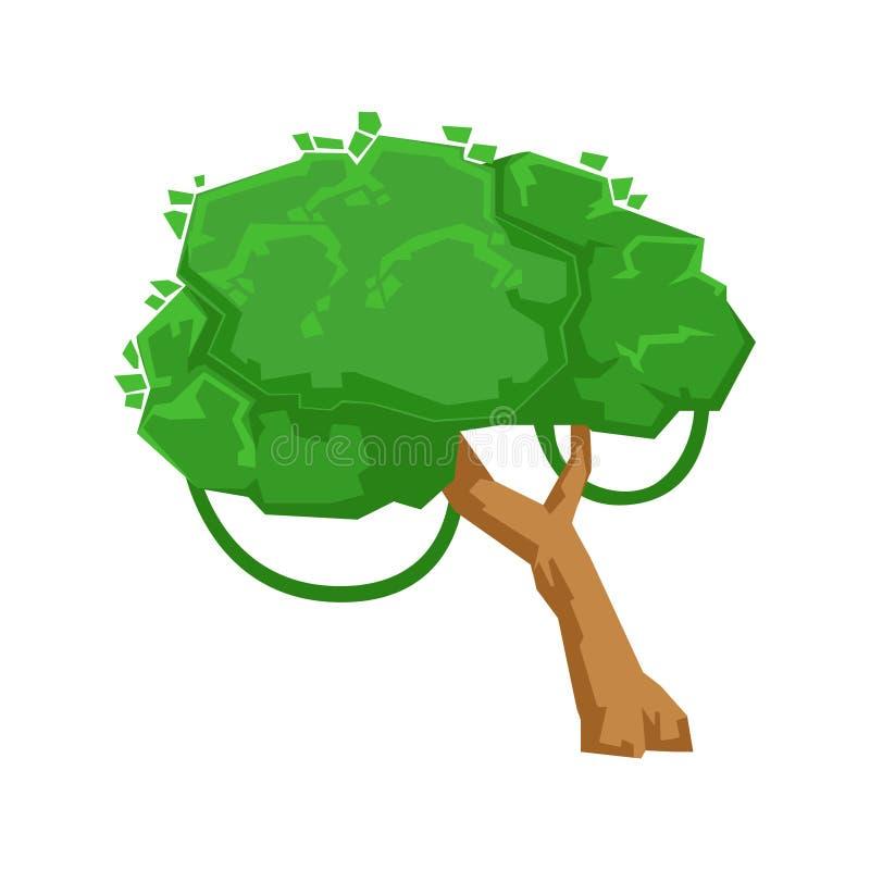Grönt träd med beståndsdelen för Liana In Tropical Jungle Natural landskapdesign, del av landskap, i att landskap för natur royaltyfri illustrationer
