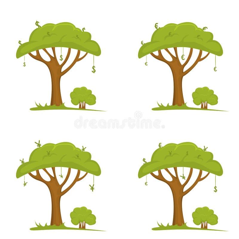Grönt träd med pengartecken vektor illustrationer