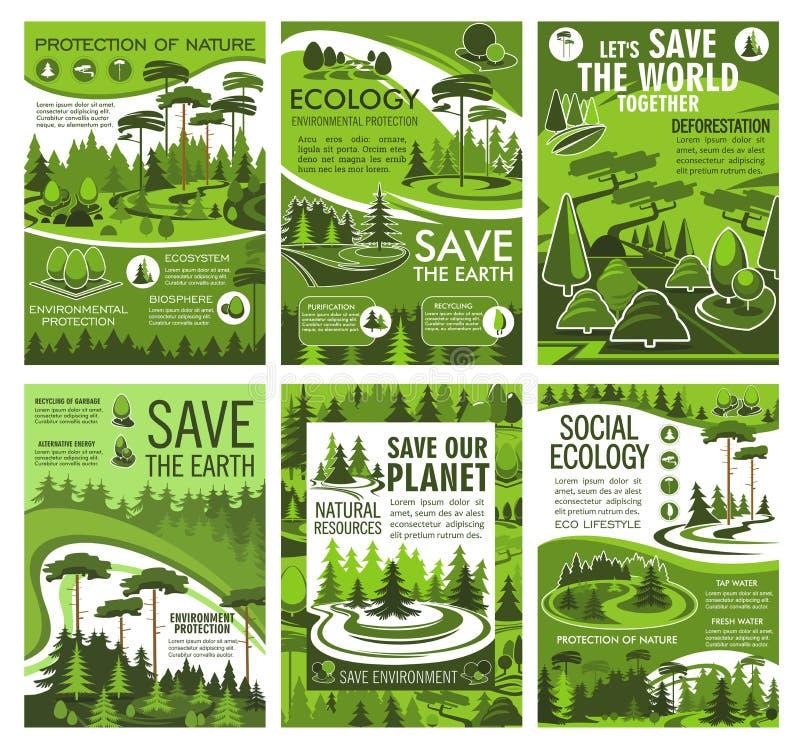 Grönt trädlandskap Ekologi och miljö stock illustrationer
