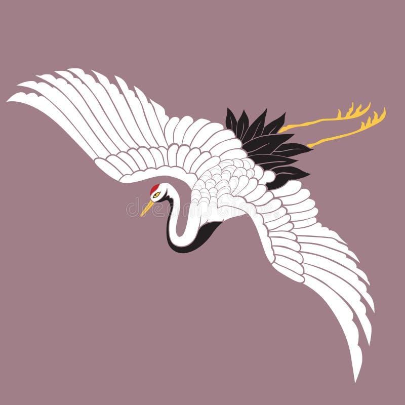 Grúa blanca japonesa stock de ilustración