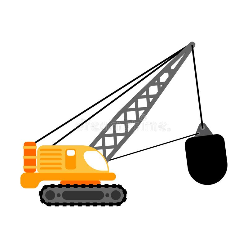 Grúa con el arruinamiento de la bola aislada Vector de la maquinaria de construcción ilustración del vector