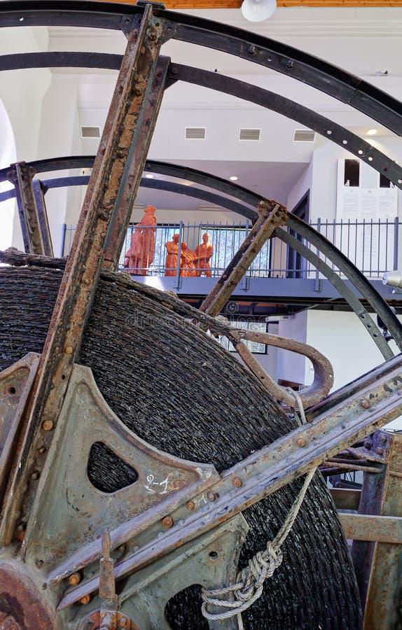 Grúa de la elevación de la rueda del cable, Marcinelle, Charleroi, Bélgica foto de archivo