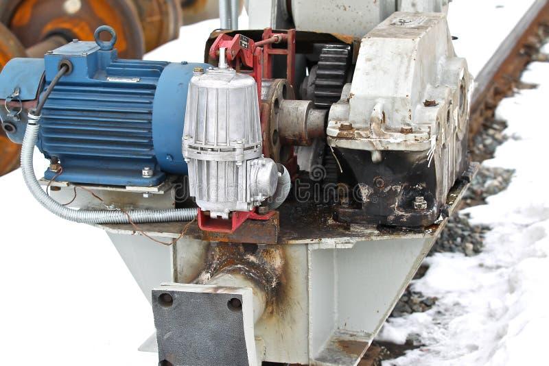 Grúa de pórtico mecánica eléctrica de la rueda del actuador foto de archivo libre de regalías