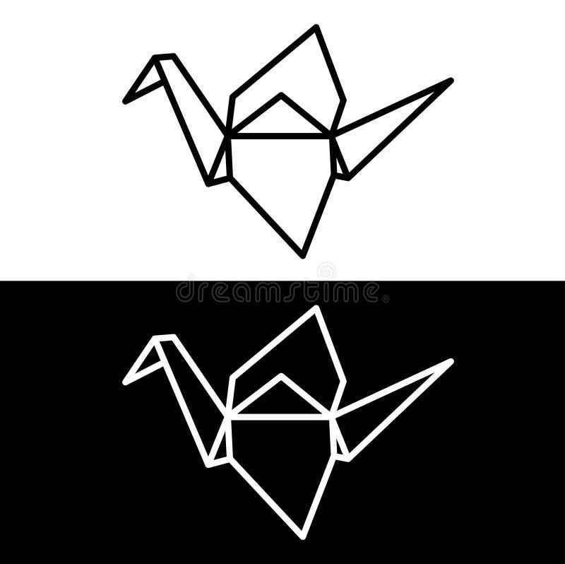 Grúa de papel de Origami stock de ilustración