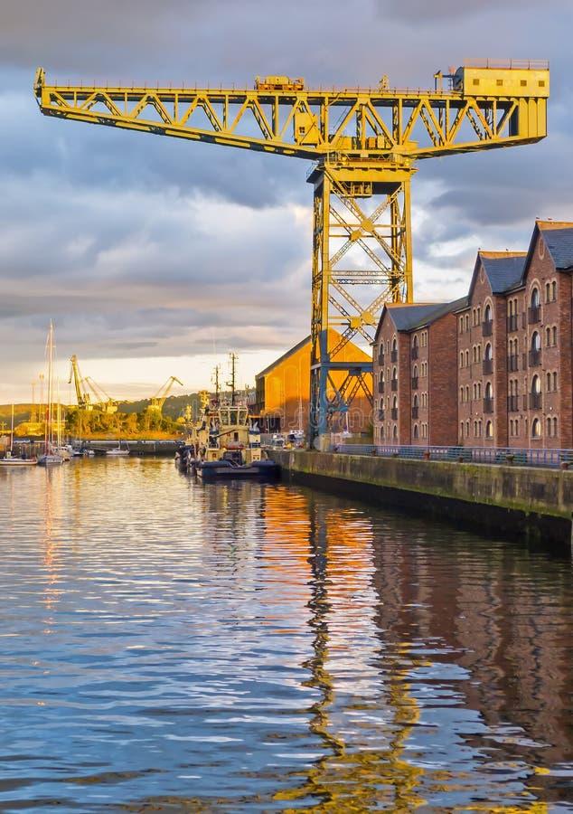 Grúa del astillero en el río Clyde imágenes de archivo libres de regalías