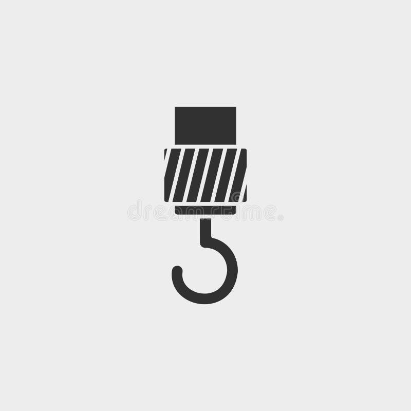 Grúa, gancho, icono, símbolo aislado ejemplo plano de la muestra del vector - negro del vector del icono de las herramientas de l libre illustration