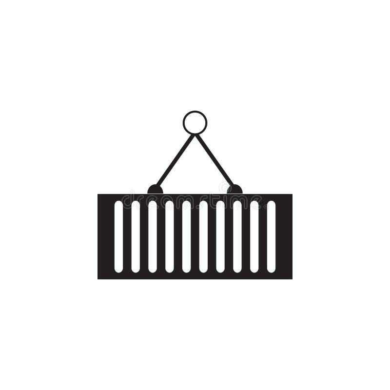 Grúa que lleva a cabo el icono del envase Los elementos de la construcción equipan el icono Diseño gráfico de la calidad superior libre illustration