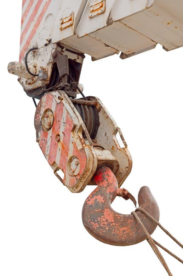 Grúas de construcción móviles con el gancho de acero de elevación rojo de la grúa fotos de archivo libres de regalías