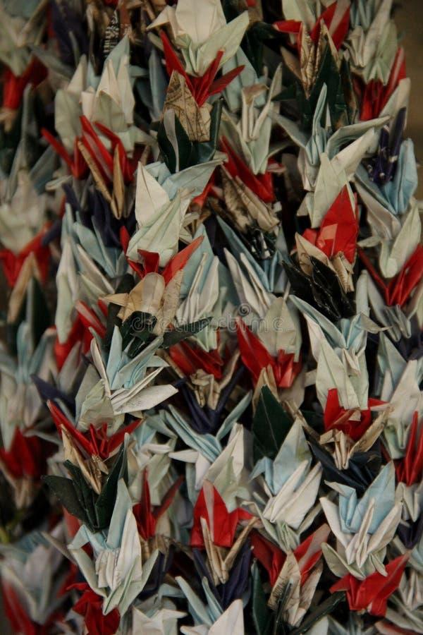 Grúas de Origami fotografía de archivo