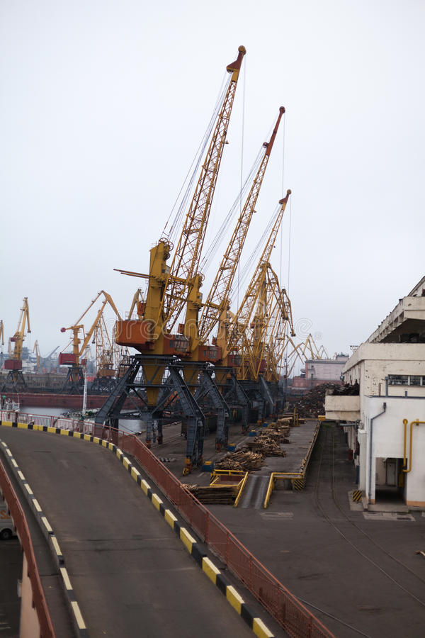 Grúas del cargo, puerto marítimo de Odessa fotografía de archivo