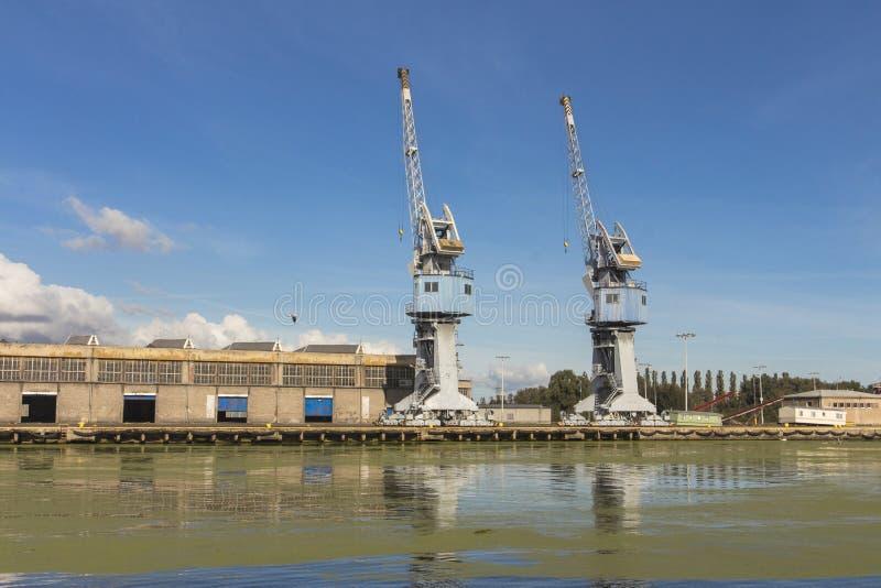 Grúas del puerto en Gdansk polonia foto de archivo libre de regalías