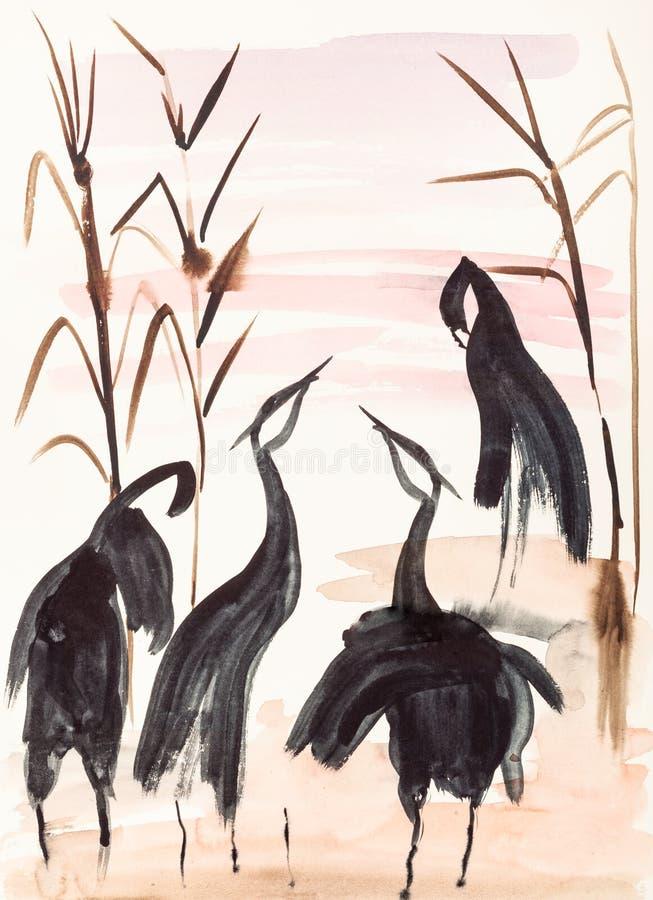 Grúas en la orilla del lago en la puesta del sol stock de ilustración
