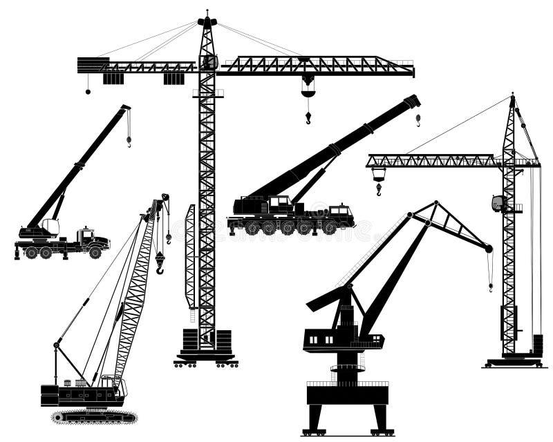 Grúas fijadas, siluetas, vector del edificio stock de ilustración