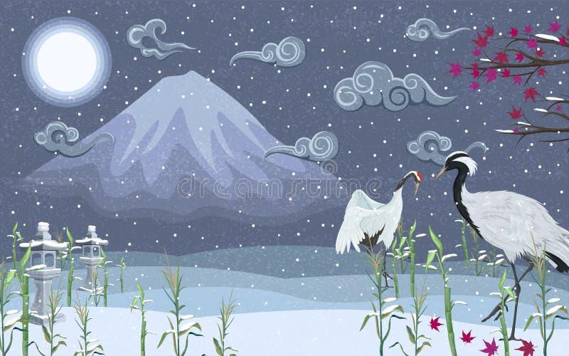 Grúas japonesas en invierno en la noche contra la perspectiva de una montaña imagenes de archivo