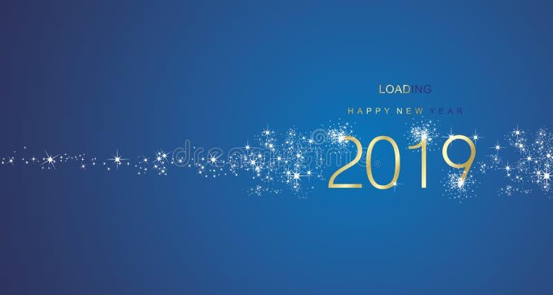 Grüße des neuen Jahres 2019, die Feuerwerksgoldweißen blauen Farbvektor laden lizenzfreie abbildung