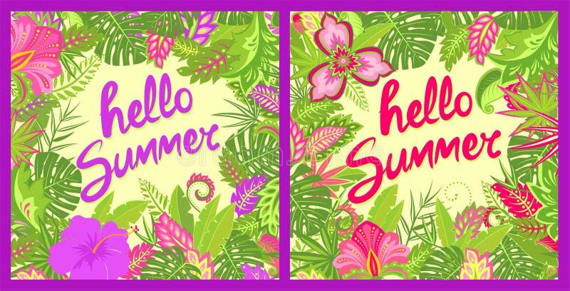 Grüßende bunte mit Blumenkarten des Sommers mit hallo Sommerbeschriftung, tropischen Blättern, Hibiscusen und anderen exotisch lizenzfreie abbildung