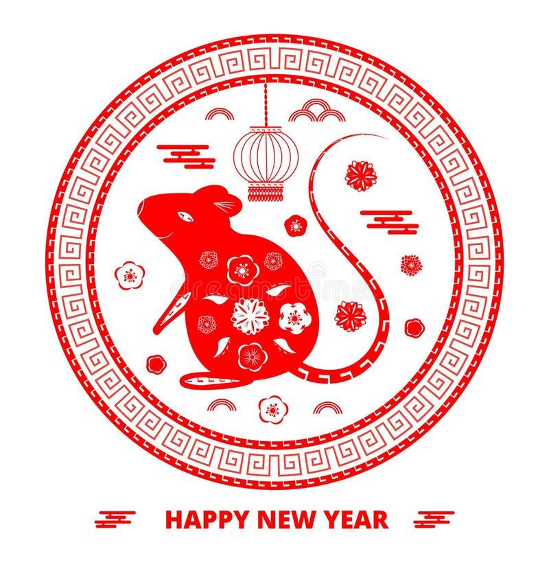 Grüßende runde Karte 2020 Chinesischen Neujahrsfests mit rotem Rattenschattenbild, Wolken, Laterne stock abbildung