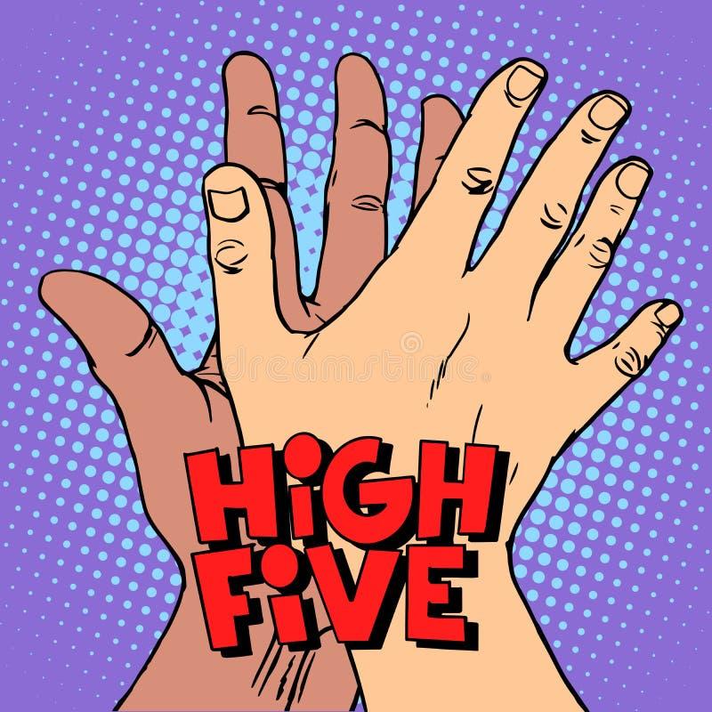Grüßende weiße schwarze Hand hohe fünf stock abbildung