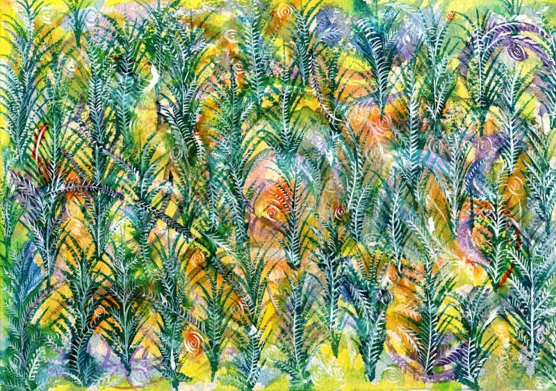 Grün auf gelbem Tannen-Baum-Muster-Zusammenfassungs-Hintergrund stockfotografie