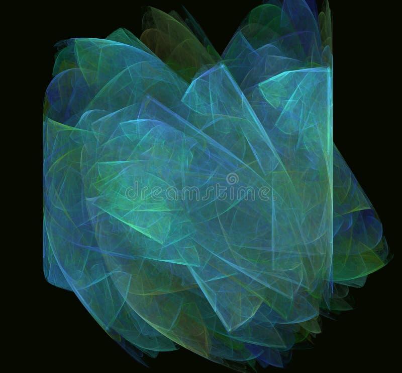 Grün-blaue abstrakte Fractalbeschaffenheit auf schwarzem Hintergrund Fantasie Fractalbeschaffenheit Tiefrote Rotation Digital-Art lizenzfreie abbildung