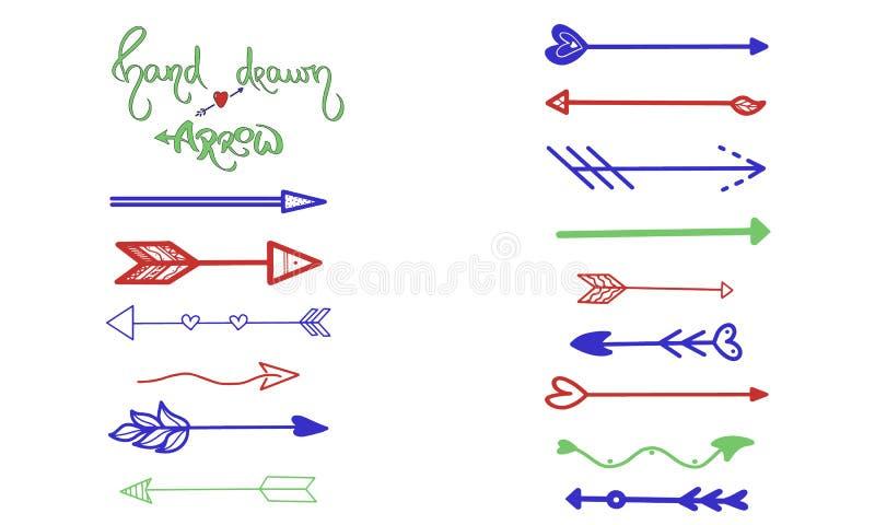 Grün-blaue rote Pfeilbürsten-Handzeichnung auf Weiß Geschäftsgrußkarte, Postkarte, Entwurfssymbol, ui Element, grafischer Zeiger stock abbildung