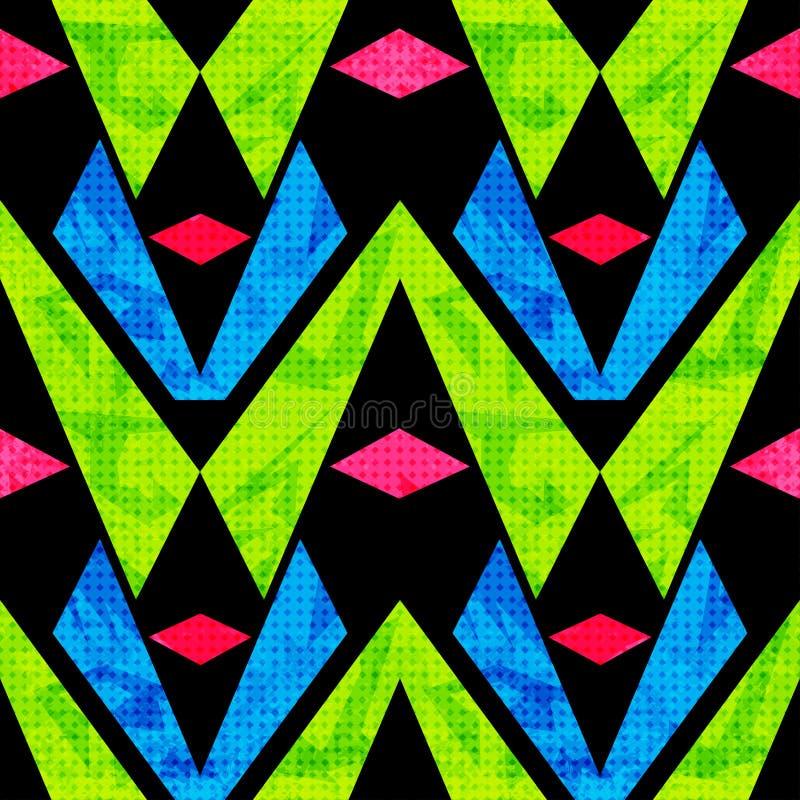 Grün-blaue und rosa Polygone auf einem nahtlosen Muster des schwarzen Hintergrundes vector Illustrationsschmutzeffekt vektor abbildung