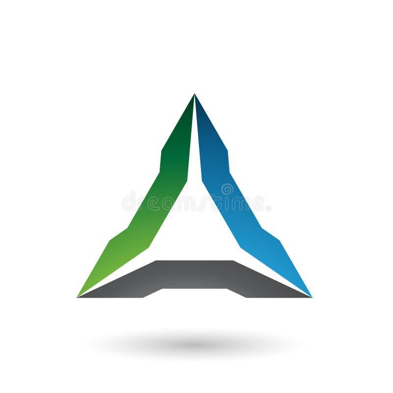 Grün-blaue und schwarze ährentragende Dreieck-Vektor-Illustration lizenzfreie abbildung