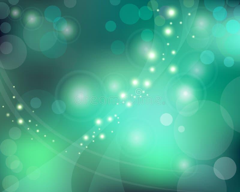 Grün-blauer Hintergrund mit bokeh Effekt stockfoto
