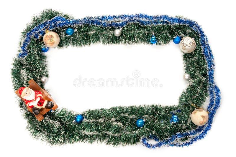 Grün-blauer Rahmen mit Bällen und Weihnachtsmann für neues Jahr und Weihnachten stockfotos