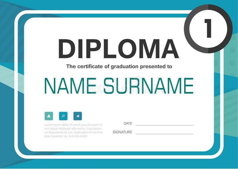 Grün-blaues Zertifikathintergrundschablonen-Plandesign des Diploms A4 lizenzfreie abbildung