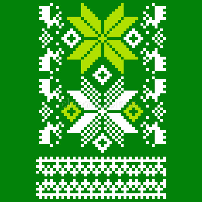 Grün gestrickter skandinavischer Schal vektor abbildung